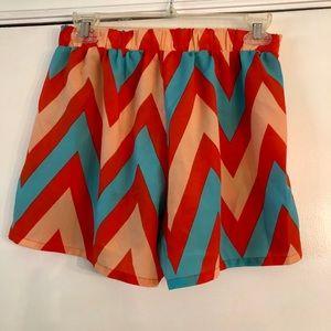 Orange and blue chevron elastic shorts size M
